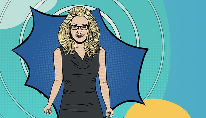 An animated version of Carlene Macmillan, MD. She has blond hair and is wearing a black dress.