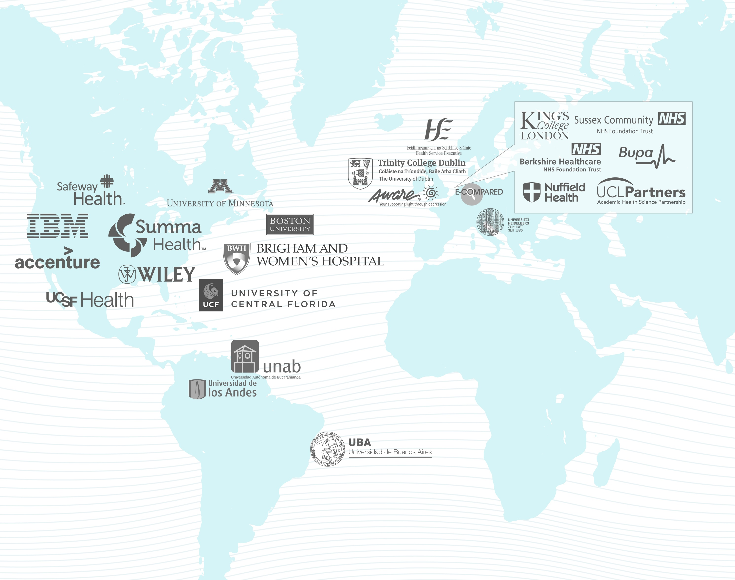 Businesses and universities' logos and name placed on a map of the Earth.