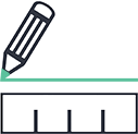 An icon of a ruler and a pencil drawing a green line above it.