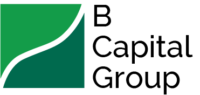 The words B Capital Group and their logo which is a light green and dark green square with a squiggly line through the middle.